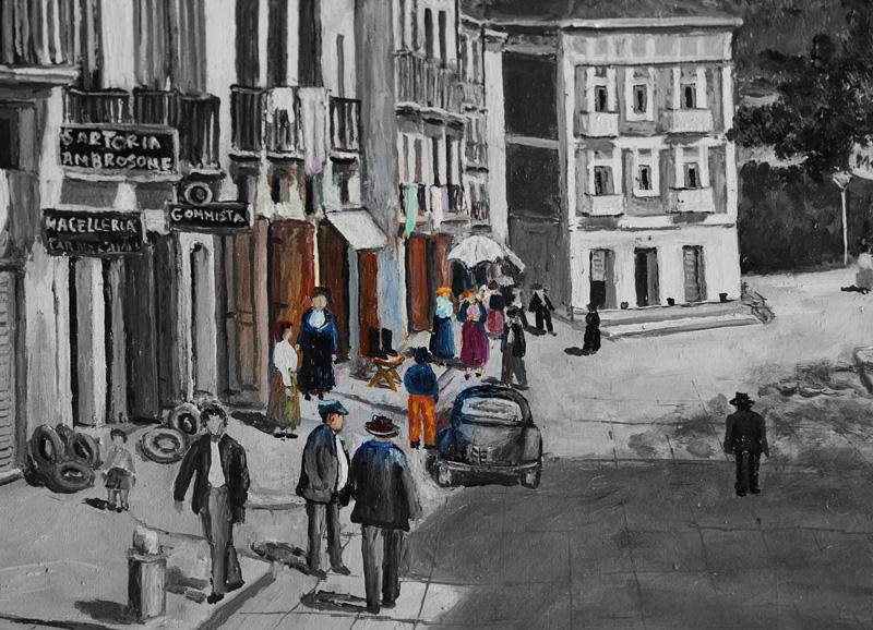 Particolare olio su tela dell'artista irpino Aldo Cristallo, dalla sua pittura esce uno spaccato di vita urbana dell'Avellino anni 40 dove si può ammirare in particolare a colori la bottega storica già a quei tempi di Capolupo, mera testimonianza delle radici di questa città.